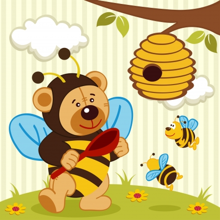 boughs: teddy bear dressed as a bee - vector illustration