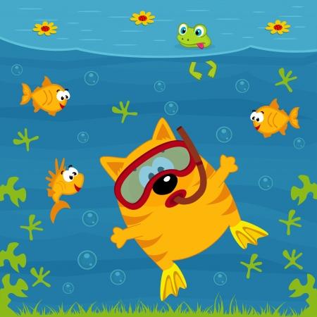 cartoon frog: cat diver  illustration Illustration