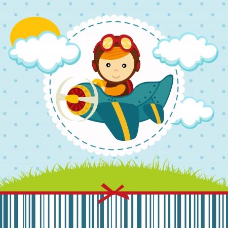 航空機: 赤ちゃん男の子パイロット イラスト