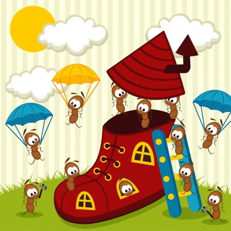 anthill: ants build house illustration