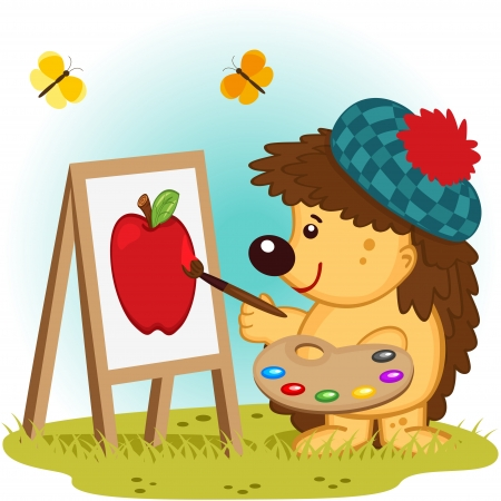 hedgehog artist illustration Vector