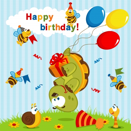 flown: birthday turtle flown on balloons  illustration Illustration