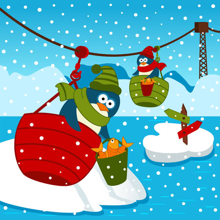 ropeway: penguin on ropeway illustration