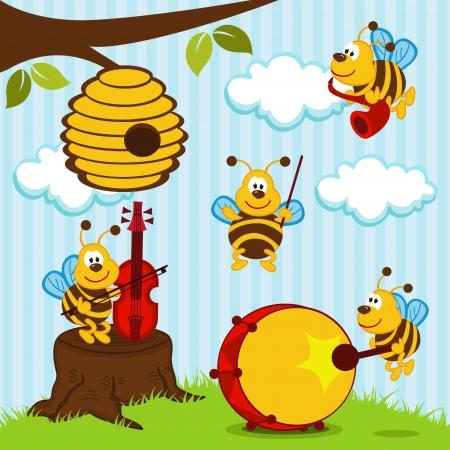 orchestra musical bees illustration Illustration