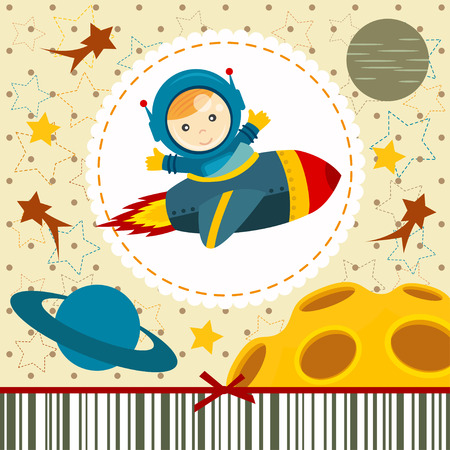 baby boy astronaut illustration Vector