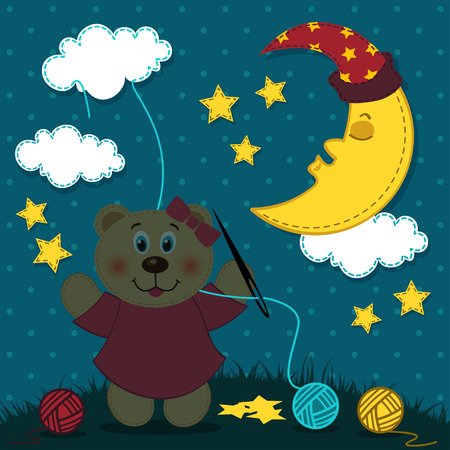 babyish: Bear girl embroiders the night sky illustration