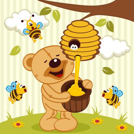teddy bear takes honey bees illustration Vector