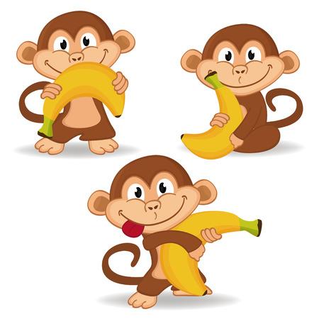 animales del zoo: mono y el plátano - ilustración vectorial Vectores