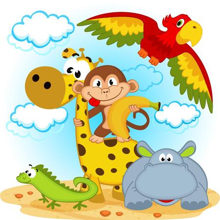 jirafa caricatura: animales africanos - ilustración vectorial Vectores