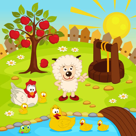 yard with animals and pond illustration