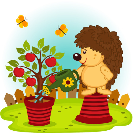 hedgehog watering a tree with apples Vector