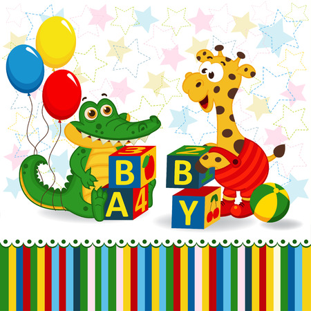 literate: giraffe and crocodile baby blocks -  vector  illustration