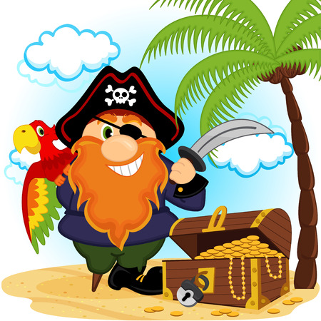pirate with a parrot -  vector illustration Vector