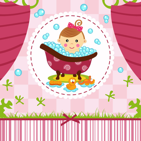baby girl in bath illustration Vector