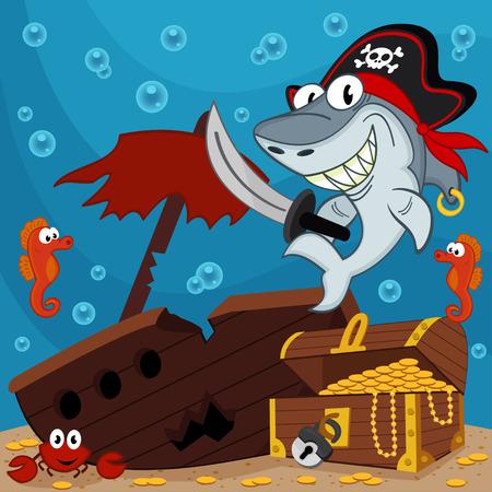 fondali marini: pirata squalo illustrazione