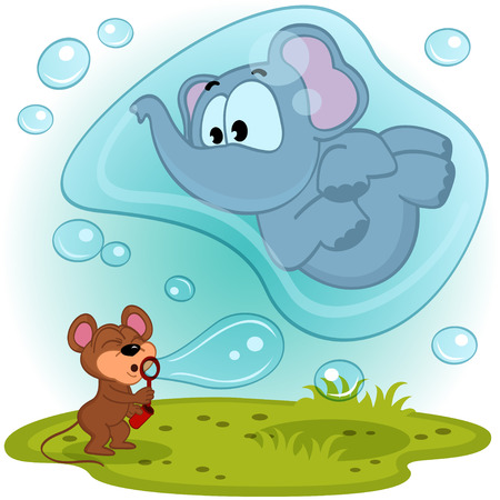 elephant mouse and bubble blower - vector illustration Vector