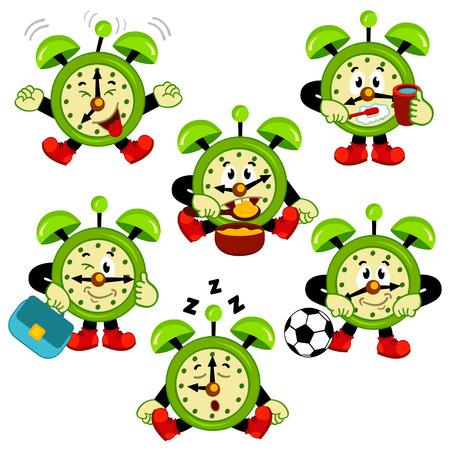 alarm clock routine - vector illustration