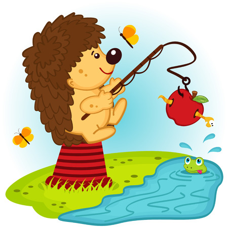 hedgehog fishing - vector  illustration  Vector
