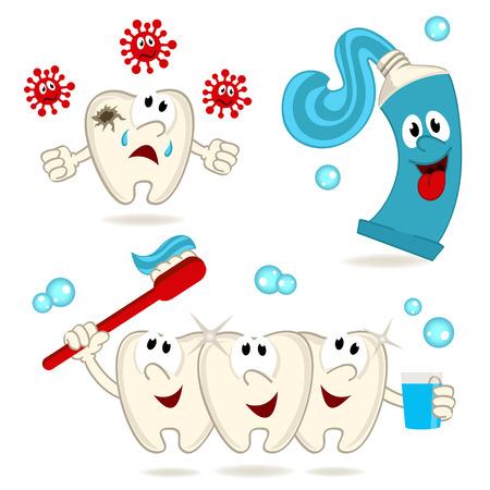dientes sucios: pasta dental y cepillo de dientes de la caries - ilustración vectorial