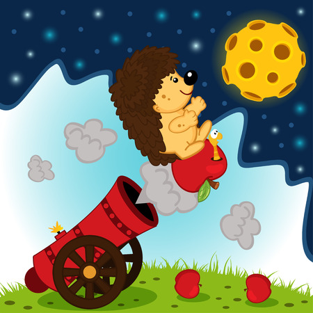 a cannon: hedgehog cannonball flies into space - vector illustration Illustration