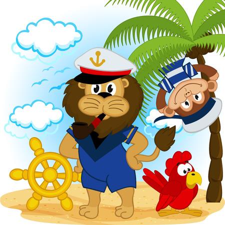 lion captain and monkey sailor - vector illustration