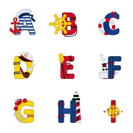 Alphabet Meer von A bis I - Vektor-Illustration