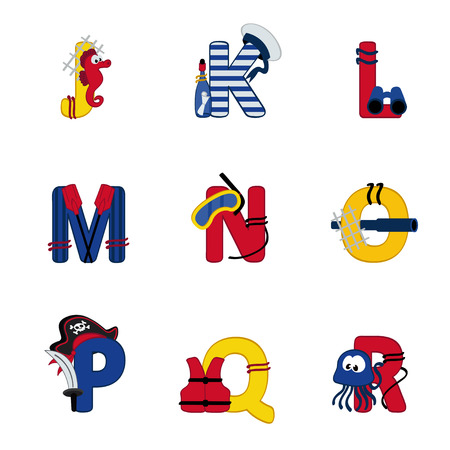 Alphabet Meer von J bis R - Vektor-Illustration Illustration