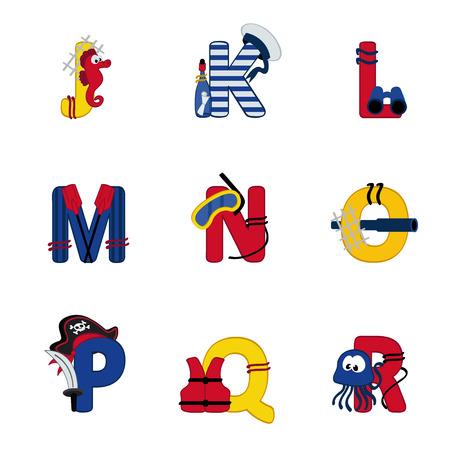 alphabet sea from J to R - vector illustration