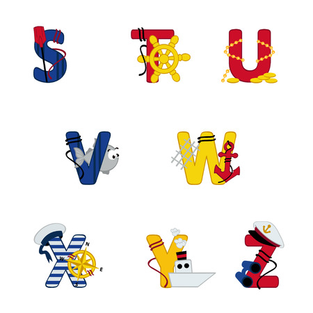 s alphabet: alphabet sea from S to Z - vector illustration