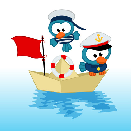 bird captain  and sailor - vector illustration