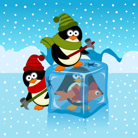 frozen fish: ice cube with penguin - vector illustration
