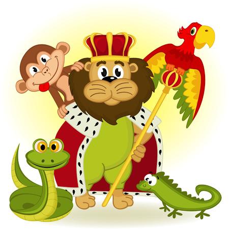 guacamaya caricatura: león, rey de los animales - ilustración vectorial