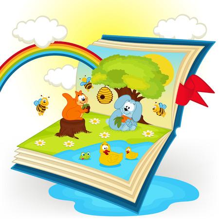 libro caricatura: animales del libro de magia en el claro del bosque - ilustraci�n vectorial