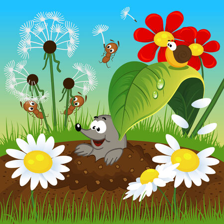 mole in the ground and insects  - vector illustration Illustration