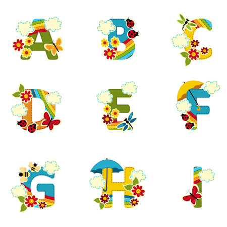 rainbow umbrella: alphabet rainbow from A to I - vector illustration Illustration