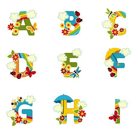 Regenbogen-Alphabet von A bis I - Vektor-Illustration