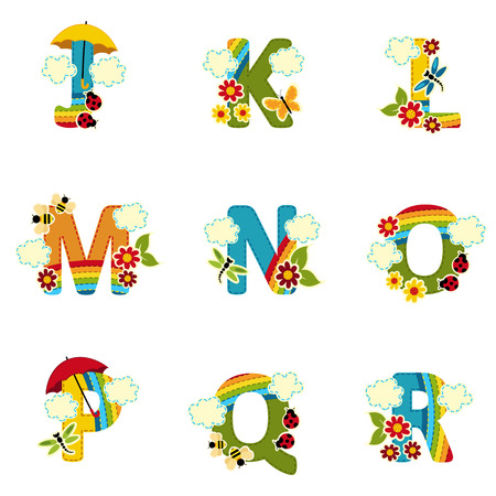 alphabet rainbow from J to R - vector illustration Vector