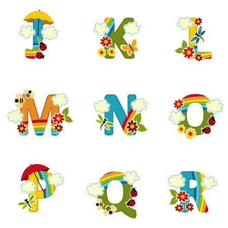 Regenbogen-Alphabet von J bis R - Vektor-Illustration