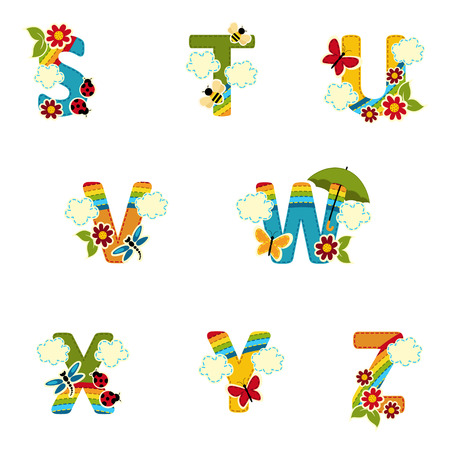 rainbow umbrella: alphabet rainbow from S to Z - vector illustration Illustration