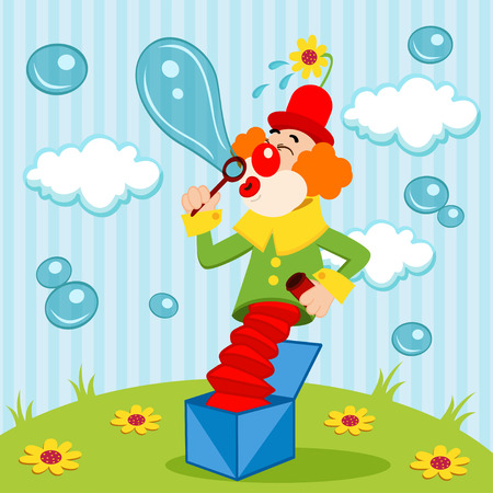birthday hat: Clown blows bubbles - vector illustration