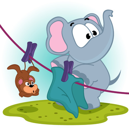 Elephant mistakenly  hung on clothespins mouse by the tail - vector illustration Ilustração