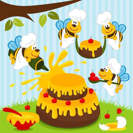 Bienen Köche bereiten Kuchen - Vektor-Illustration