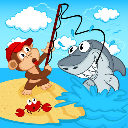 monkey on fishing - vector illustration Vector