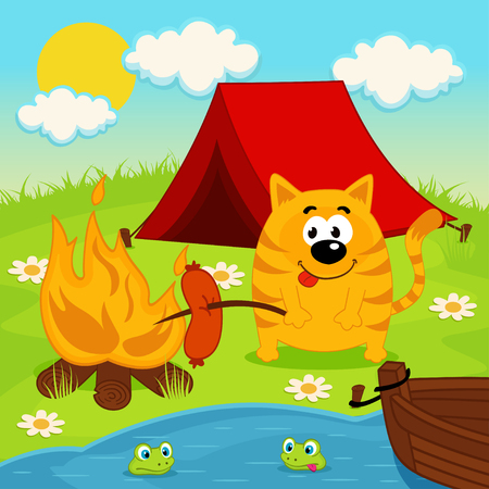 cat on  camping - vector illustration Vector