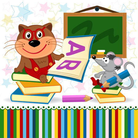 cat mouse in school - vector illustration Vector