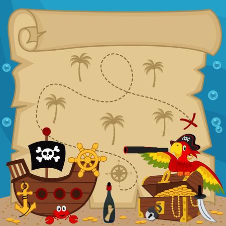 mapa del tesoro: antiguo mapa del tesoro - ilustración vectorial