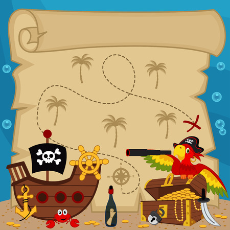 old treasure map - vector illustration Vector
