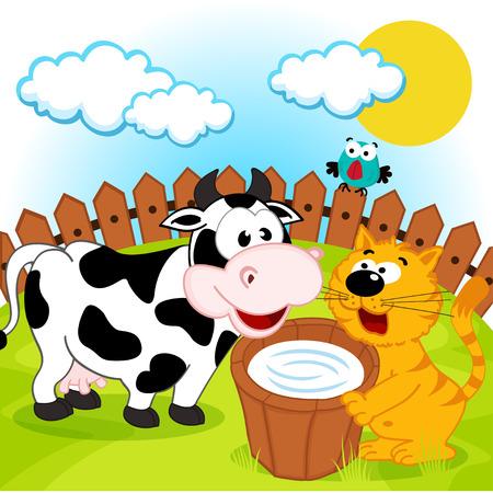 rural wooden bucket: cat, cow and milk - vector illustration