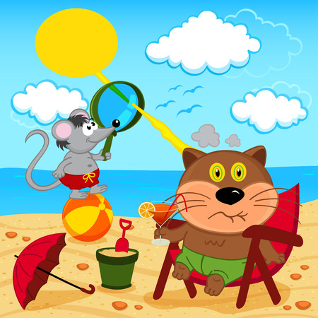 sunstroke: cat and mouse fool around with on beach Illustration
