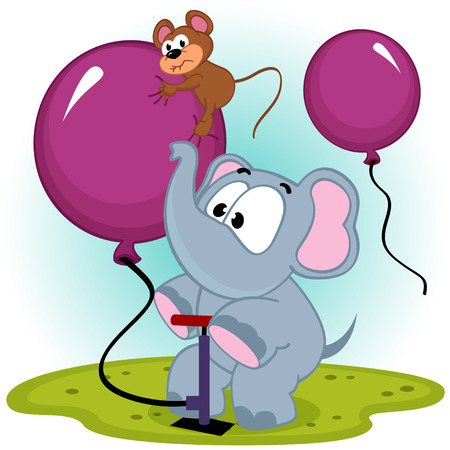 inflating: elephant inflating balloon with mouse - vector illustration